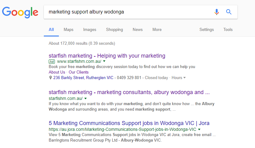 example of starfish marketing SEM results